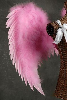 Candy Pink Turkey and Maribou Feather Angel Wings (Hand Crafted)