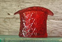 Vintage Fenton Red Glass Hat