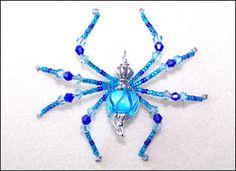 Belladonna aqua and cobalt blue glass beaded spider by llanywynns