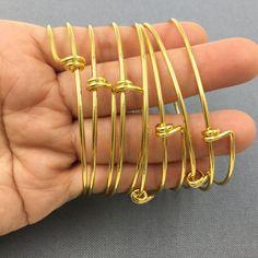 Bulk lot 50pcs Gold Plated Adjustable Wire Bangle Bracelet 2