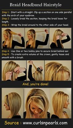 Braid Headband Hairstyle Tutorial. I like this one a little better because it has the tease added to it