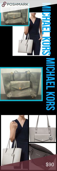 SOLD Jet Set LG Saffiano Leather Tote NWOT MICHAEL Michael Kors 'Jet Set - east west Large' Saffiano Leather Snap Pocket... grey item was floor model at Nordstrom like new. A convenient snap pocket with card slots fronts the scratch-resistant Saffiano leather exterior, while a padded interior center zip pocket protects your tablet or laptop. Structured enough to stand on its own, this chic bag will keep your files, books, or getaway gear fashionably organized while you're on the move.Open…
