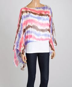 This Pink & Purple Tie-Dye Stripe Poncho by TROO is perfect! #zulilyfinds