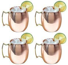 Moscow Mule Polished Copper 16 Ounce Drinking Mug, Set of 4
