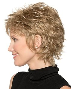 Want subtle edge to your beauty routine? The Brianna Synthetic Wig by TressAllure is a short, spiky haircut embellished with finely razored layers. Short Shag Hairstyles, Short Layered Haircuts, Short Hairstyles For Women, Cool Hairstyles, Shaggy Short Hair Cuts, Pixie Cuts, Haircut For Thick Hair, Pixie Haircut, Short Hair With Layers