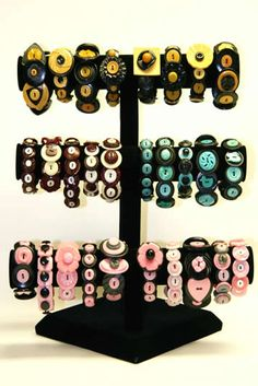 ButtonArtMuseum.com - Button Bracelets On Display-most interesting have all black base buttons