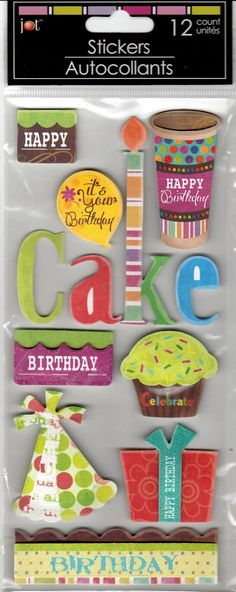 Happy Birthday Dimensional Stickers. Would look great on scrapbook pages, handmade cards, junk journals, etc.