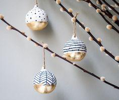 Lot de 3 boules noires et blanches, décorations de Noël Scandi, boule de Noël de luxe, décoration de Noël doré, motifs Scandi