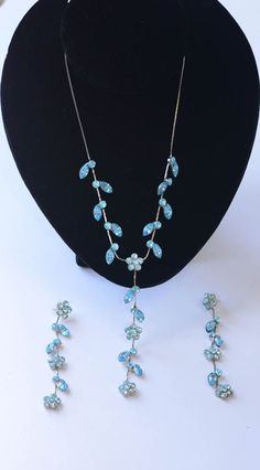 Blue Rhinestone Necklace and Earrings by Violasvintages on Etsy, $35.00
