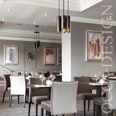 Hotel Interior Design, Restaurant Interior Design,Leather Chairs, Contemporary lighting Neutral Interior, Georgian hotel, Stackable Chairs,