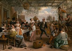 """Jan Steen, """"The Dancing Couple,"""" 1663  All five senses are represented in this work in which two young musicians play for a dancing couple while other people in the vine-covered arbor flirt, eat, drink, or smoke, and children amuse themselves with their toys. Despite the apparent frivolity of the scene, Steen used emblematic references such as cut flowers, broken eggshells, and soap bubbles to warn the viewer about the transience of sensual pleasures."""