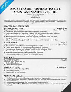 Career infographic : Sample Resume Receptionist Administrative Assistant  Sample Resume Receptionist