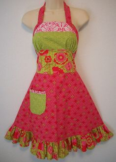 pink apron etsy