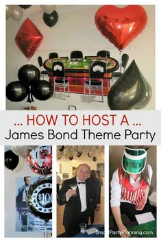 A James Bond theme party is the perfect solution for guys that love to party in style. Use black and silver decoration, and casino attire to create an instant appeal. There are ideas to cover games, decorations, food and attire. #JamesBond #Party #Ideas #Casino #Decoration James Bond Party, James Bond Theme, Vegas Party, Casino Night Party, Casino Theme Parties, James Bond Outfits, Poker Party, Party Food Themes, Party Ideas