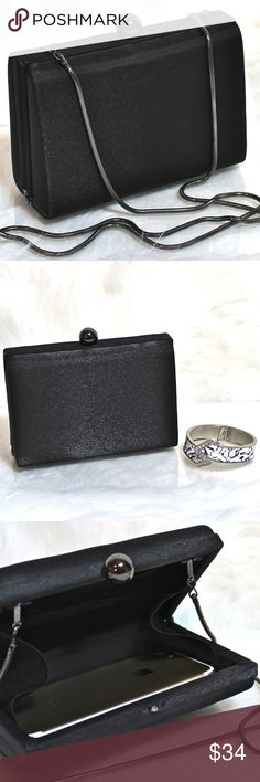 "🎉HOST PICK!🎉NWOT*Sweet Black Clutch/CrossBody ""BEST in BAGS HOST PICK! 2.7.18  NEW! ★Little black bag to match your LBD!★ ★Pristine condition★ Satiny, fabric w/beautiful sheen. Hematite metallic closure; long snake chain Wear as cross body or tuck chain in & carry as clutch. Holds iPhone 6! 6"" x 5"" x 2.25"" with 24"" handle drop. Pair with Black & White Rhinestone Bracelet Watch shown. Or a LBD or stunning heels in my curated collection! ❤THANK YOU & HAPPY POSHING! Other Bags Mini Bags"