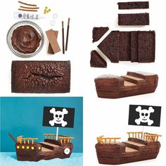 Pirate cake tutorial step by step picturesNoah's ark OR pirate ship! 19th Birthday Cakes, Pirate Birthday Cake, Novelty Birthday Cakes, Birthday Cake Girls, Birthday Outfits, Birthday Ideas, Pirate Ship Cakes, Pirate Boat Cake, Lightning Mcqueen Birthday Cake