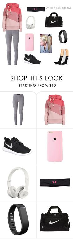 """""""Winter Outfit (Sporty)"""" by pearcemaddie ❤ liked on Polyvore featuring Drome, NIKE, Beats by Dr. Dre, Under Armour and Fitbit"""
