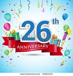 26th Anniversary Celebration Design, with gift box and balloons, Red ribbon, Colorful Vector template elements for your twenty six years birthday celebration party.