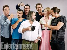 From left to right: Benedict Cumberbatch, Andy Serkis, Luke Evans, Peter Jackson, Lee Pace, Cate Blanchett & Orlando Bloom at SDCC 2014.