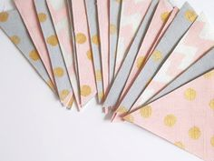Nursery bunting decor blush pink gold grey by KatzCornerBoutique