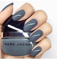 In search for some nail designs and ideas for your nails? Here's our list of 37 must-try coffin acrylic nails for fashionable women. Cute Nails, Pretty Nails, Gray Nails, Blue Nail, Round Nails, Nail Polish Colors, Polish Nails, Mauve Nail Polish, Gray Polish