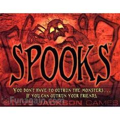 SPOOKS CARD GAME STEVE JACKSON. Could only find written reviews on boardgamegeek. Mixed, but l am interested and want it. Like the vibrant art, the unique suits, goblins, bats, bones, spiders and ghosts l think. Has some trick taking, which is one of my favorite mechanics. Keep an eye out for it in mainstream.