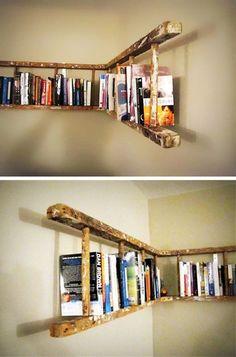 alte holzleiter wandregal selber machen make old wooden ladder wall shelf yourself Pin: 600 x 901 Old Wooden Ladders, Ladder Bookshelf, Bookshelf Ideas, Bookshelf Design, Shelving Ideas, Creative Bookshelves, Storage Ideas, Ladder Shelf Diy, Hanging Shelves