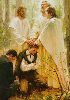 Walter Rane's painting of Joseph Smith receiving the priesthood from the ancient apostles, Peter, James and John