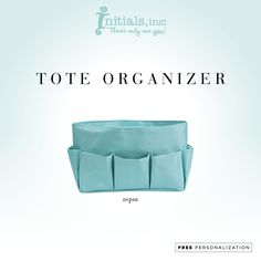 Organize your tote! Features 9 exterior pockets of varying widths. The main compartment has 2 open pockets with elastic tops, one large open pocket with Velcro closure and 2 smaller open pockets.