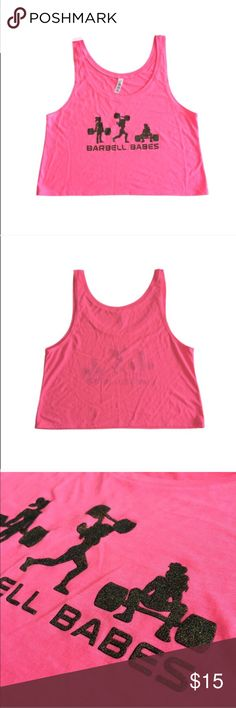 🆕 Barbell Babes Neon Pink CrossFit Crop L/XL Barbell Babes crop tank with black glitter print. True to size. 🚫 No trades. No holds. 📦 Fast shipping! Barbell Babes Tops Crop Tops