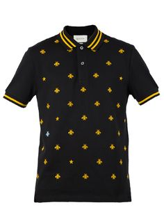 fcd95a913097 GUCCI Cotton Polo With Bees And Stars - Black Stretch Cotton Piquet Polo  Shirt Logo,