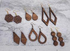 Geometric wood earrings  Wooden blocks earrings  5th anniversary gift Womens jewelry Gift for her Dangle earrings