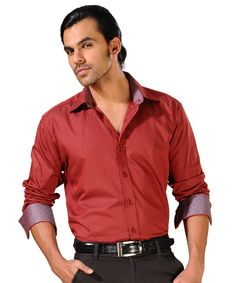 Look dashing in maroon party wear shirt.