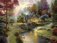 The sudden death last month of American landscape artist Thomas Kinkade, at age 54, left the art world perplexed at the loss of one of its most ridiculed yet successful practitioners. Description from agonist.org. I searched for this on bing.com/images
