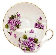 Wild Violets Bone China Tea Cup and Saucer, Made In England