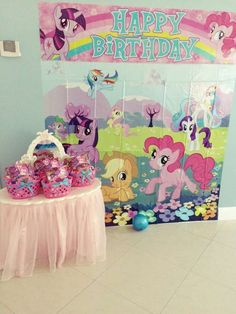 Fun backdrop at a My little pony birthday party! See more party ideas at CatchMyParty.com!