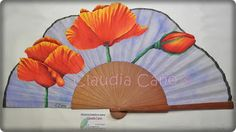 Abanicos pintados a mano por Claudia Cano Hand Held Fan, Hand Fans, Coloring Books, Coloring Pages, Fancy Hands, Fan Decoration, Paper Fans, Poppies, Diy And Crafts