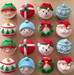 Christmas Cupcake Toppers, Christmas Cake Designs, Christmas Cake Pops, Christmas Deserts, Christmas Cake Decorations, Fondant Cupcake Toppers, Holiday Desserts, Christmas Crafts, Cupcake Cupcake