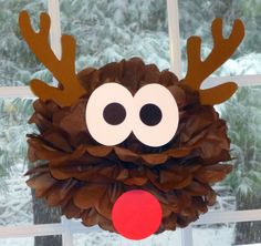 Reindeer pom pom kit Rudolph Santa Christmas party decoration. $9.99, via Etsy.