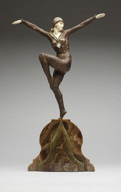 Demètre H. Chiparus (Romanian 1886 - 1947), Paris, Sculpture, Cold-painted, Patinated Bronze, Ivory and Onyx Base.