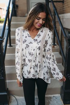 Ivory Floral Long Sleeve Top - Dottie Couture Boutique