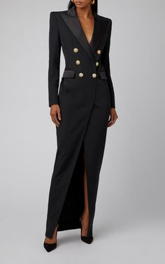 Get inspired and discover Balmain trunkshow! Shop the latest Balmain collection at Moda Operandi. Black Prom Dresses, Elegant Dresses, Nice Dresses, Looks Street Style, Looks Style, Suit Fashion, Fashion Dresses, Fashion 2018, Cocktail Dress Prom