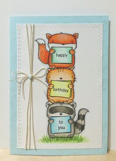 Mama Elephant's Three Amigos stamp set. To give it more interest, I used a bit of thin twine to go round card panel. The ribbon is separate and I attach it using Nuvo Crystal Drop.