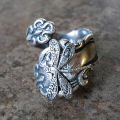 Dragonfly Spoon Ring in Antiqued Silver by EnchantedLockets, $24.00