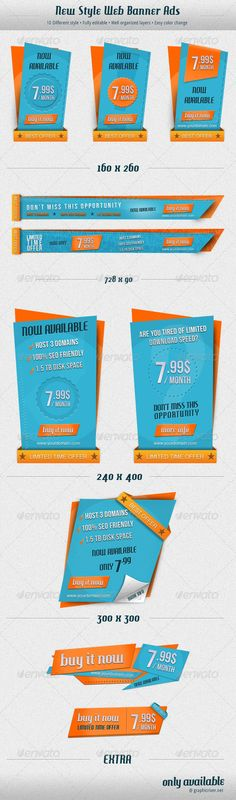 New Style Web Banner Ads Template PSD | Buy and Download: http://graphicriver.net/item/new-style-web-banner-ads/2254265?WT.ac=category_thumb&WT.z_author=hoodedclaw&ref=ksioks