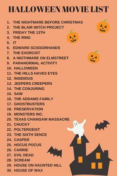Scary Movie List, Halloween Movies List, Halloween Movie Night, Scary Movies, Holidays Halloween, Good Movies, Happy Halloween, Halloween Party, Halloween Bucket List