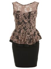 Petites Nude Lace Peplum Dress