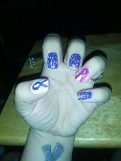 Epilepsy month nails second go round left hand