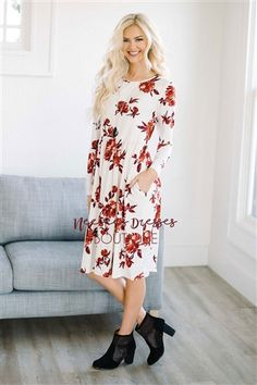 Red and White Floral Modest Dress, modest clothes, best modest online boutique, modest bridesmaids dresses, dresses with sleeves, church dresses, skirts for church, modest skirt, full length dresses, floral dress, sexy modest boutique