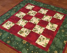 Christmas Patchwork Table Topper, Christmas Wall Hanging, Christmas Decor, Holiday Decor, Red and Green Table Topper, Christmas Decoration